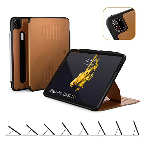 ZUGU CASE (New Model) The Alpha Case for 2020 iPad Pro 11 inch - Ultra Slim Protective Case - Wireless Apple Pencil Charging - Convenient Magnetic Stand & Sleep/Wake Cover (Brown)