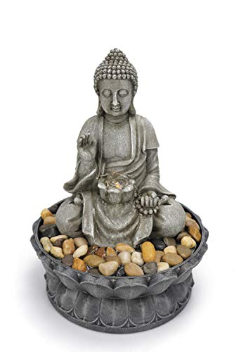 Warm Garden Buddha Fountain Tabletop Water Fountain-Sitting Buddha Tabletop Water Fountain Zen Fountain