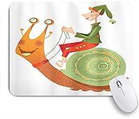 EILANNAマウスパッド カタツムリパステルドリームランド子供創造的な漫画に乗ってGnomeリトルエルフ ゲーミング オフィス最適 高級感 おしゃれ 防水 耐久性が良い 滑り止めゴム底 ゲーミングなど適用 用ノートブックコンピュータマウスマット