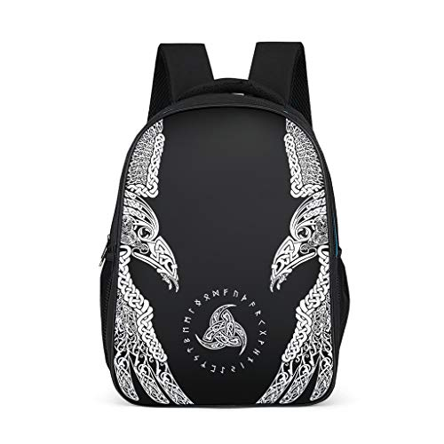 Odin - Mochila para niños, diseño de Cuervo Celta, Color Negro Gris Gris Talla única