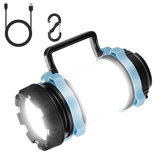 EXTSUD Multifunktionale Camping Lampe 1000 LM Handlampe Tragbare LED Camping Laterne Helle Suchscheinwerfer Led USB Lampe Taschenlamp 4400 mAh wiederaufladbare Power Bank für Nachtfischen,Jagen
