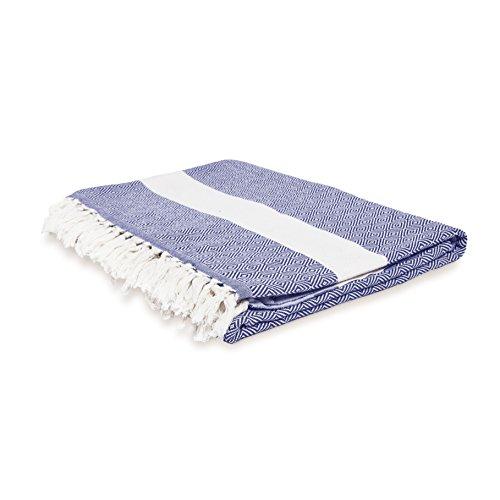 Lumaland Baumwolldecke Tagesdecke kräftige Farben aus 100% Baumwolle in Premiumqualität ca. 200 x 240 cm Marine Blau
