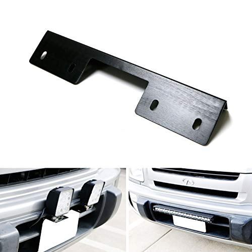 iJDMTOY Miniature Front Bumper License Plate Mount Bracket Holder Compatible With Off-Road Lights, LED Work Lamps, LED Lighting Bars, etc (Black Finish)