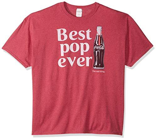Coca-Cola Men's Best Pop Coke Bottle Logo T-Shirt, red Heather, 3X-Large