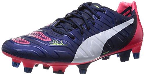 Puma Herren EvoPower 1.2 Mixed SG Fußballschuhe, Blau (Peacoat-White-Bright Plasma 01), 42