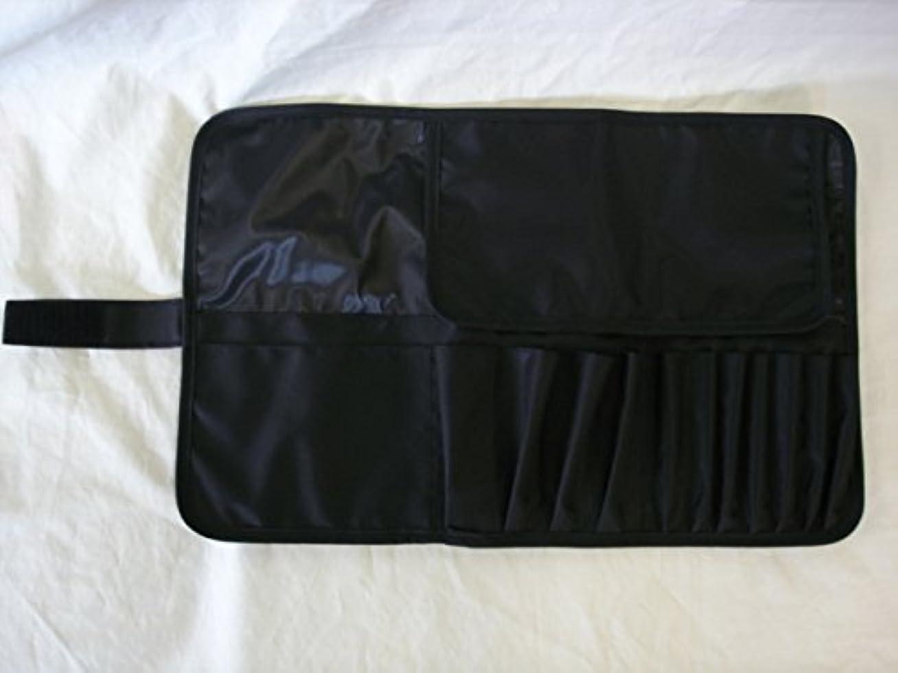 可決交じるパッケージメイクブラシケース12ポケット付 Lサイズ ブラック