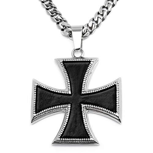 Schmuck-Checker Eisernes Kreuz Anhänger aus Edelstahl silber schwarz Deutscher Orden Panzerkette Halskette Bikerschmuck Männer Herren Schmuck Geschenk