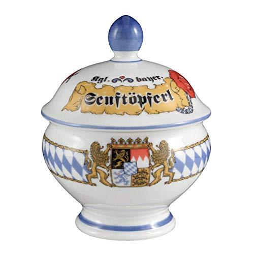 Seltmann Weiden 001.456005 Compact Bayern Senftopf mit Deckel 0,18 L, Blau/Weiß/Gelb/Rot