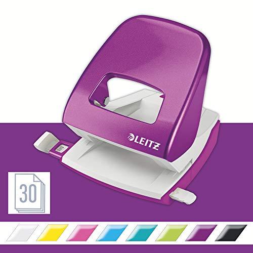Leitz 50081062 Locher (30 Blatt, Anschlagschiene mit Formatvorgaben, Metall, WOW) metallic violett