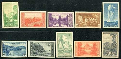 United States Commemorative Stamps Scott # 756-765 (10 stamps) National Parks Mint Unused Very Fine Centering Never Hinged 1935