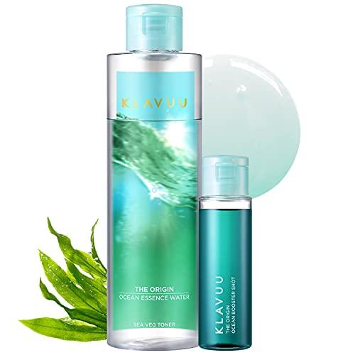 Moisturizing Vegan Essence Toner for Sensitive Skin, PH Balancing for Oily and Dry Skin, Non-Sticky Refreshing Astringent - KLAVUU The Origin Ocean Essence Water 170ml & Booster Shot 30ml