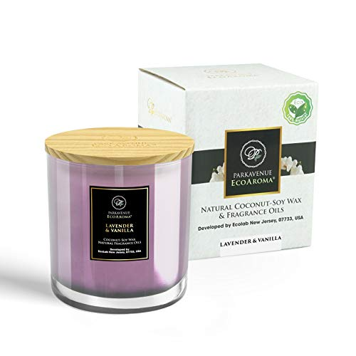 EcoAroma Lavender & Vanilla Luxury Scented Coco-Soy Jar Candles Organic Aromatherapy Candles Highly Scented Home Decorative Fragrance Gifts Hand Poured 2 Wicks 12 Oz