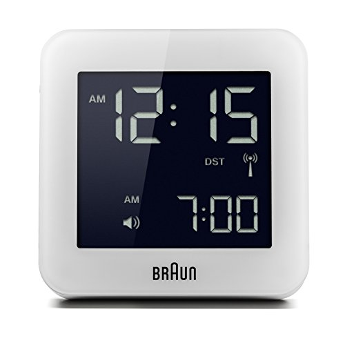 Braun Digitaler multiregionaler Funkwecker mit Schlummerfunktion, negatives LC-Display, Schnelleinstellfunktion, Alarmfunktion, in Weiß, Modell BNC009WHI-RC