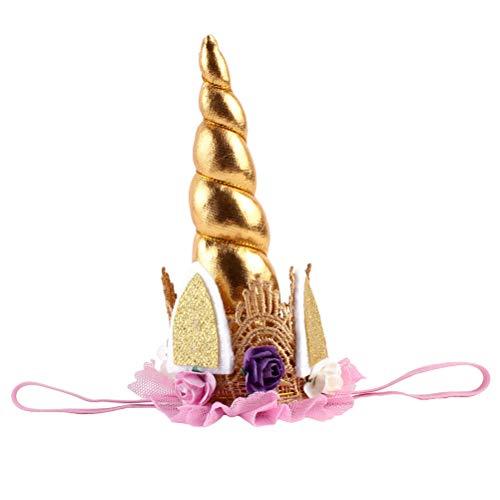 YeahiBaby Diadema de Cuerno de Unicornio Elásticas para Accesorios de Cabello de Disfraz de Fotos Navidad para Niñas Bebé Recién Nacido (Dorado)