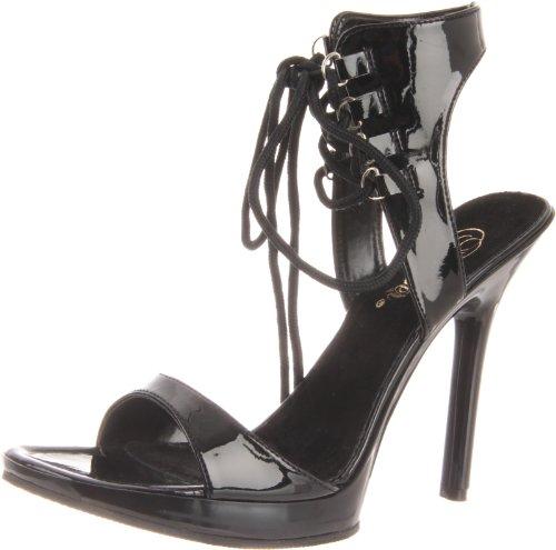Pleaser High Heels Pumps Stiletto Schnür-Sandalette VOGUE-35 Schwarz, Blk Pat/Blk, 38 EU