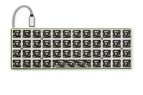 Drop Planck Mechanical Keyboard Kit V6 — DIY Compact 40% Ortholinear Layout, Kaihua Hotswap Sockets, Programmable PCB, USB-C, and Aluminum Case (Mid-Pro, Green)