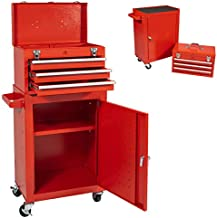 Eco Home Tool Chest With 3-Drawer High Capacity Tool Box with Wheels and Lockable Drawers,Rolling Tool box Removable Tool Storage Cabinet,Large Capacity Tool Boxes for Garage and Warehouse (Red)