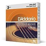D'Addario EJ15-3D - Juego de cuerdas para guitarra acústica de fósforo/bronce.010 - .047