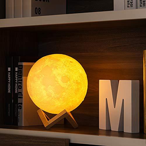 SJHP LED Mond Lampe 3D Nachtlicht Kinder Mond Lampe Weiß Gelb 2 Farben Dimmbare Helligkeits Anpassung USB Wiederaufladbar für Wohnzimmer Geschenk am Weihnachten Kinder und Liebhaber