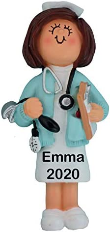 HOBBY HOME ACCESSORIES Personalized Nurse Girl Christmas Tree Ornament 2020 Blue Scrubs Stethoscope product image