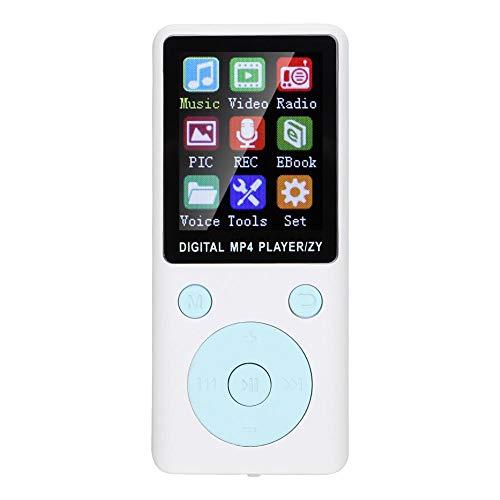 Sutinna Reproductor de MP3 MP4, 8G Reproductor de música Digital portátil Bluetooth4.2, Compatible con música Radio grabación Video Libro electrónico función de cronómetro Incorporado(Blanco)