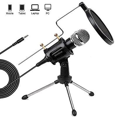 XIAOKOA PC/Phone Microphone,3.5mm Condenser Microphone Jack Handheld Mic with USB Sound Card,Tripod Stand and Pop Filter for Youtube, MSN, Facebook,Skype Online Chatting, Gaming, Recording,Podcasting