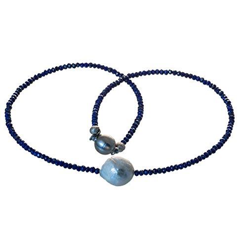 Bella Carina Creativ Perlen Kette aus facettiertem Lapislazuli und einer großen Barock Perle