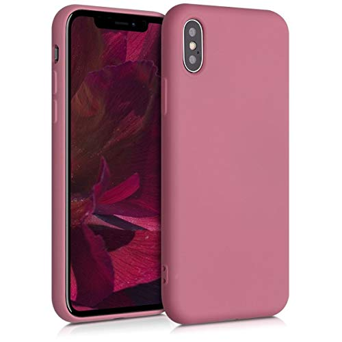 kwmobile Cover Compatibile con Apple iPhone X - Custodia in Silicone Effetto Gommato - Back Case Protezione Cellulare - Cipria Scuro