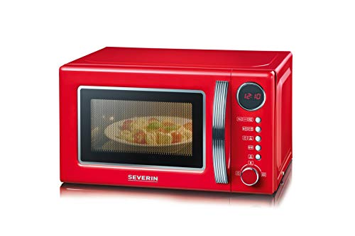 Severin 7893-000 MW 7893 2-in-1 Mikrowelle, 20 liters, rot-chrom