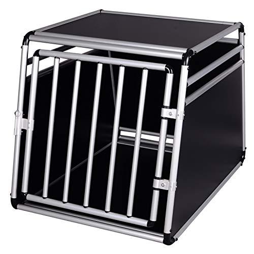 EUGAD Hundetransportbox Alu Hundebox Reisebox Autobox für kleine/mittlere Hunde Französische Bulldogge Beagle Terriers Dackel Shiba Inu 69 x 54 x 50 cm L 0003LL