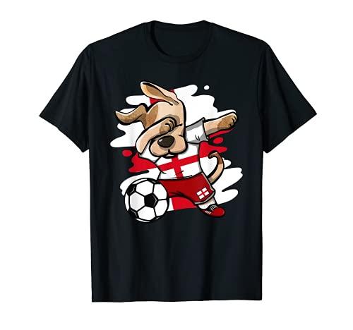 Divertido Dabbing Perro Fútbol de Inglaterra Bandera Inglesa Camiseta
