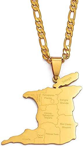 YZXYZH Collar (3,5 Cm De Alto) Mapa De Trinidad Y Tobago Nombre De La Ciudad Collar Colgante para Mujeres Hombres Color Dorado Joyería Étnica De Moda Regalos