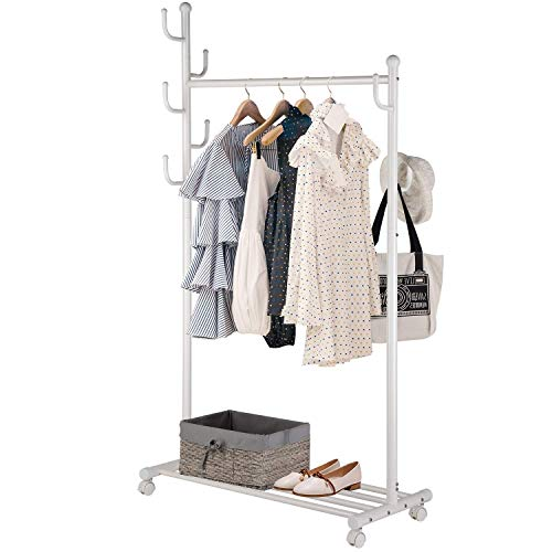 SINGAYE Clothes Rack 2-in-1 Coat Rack Rolling Garment Rack with Bottom Shelves, 7 Side Hooks, Lockable Wheels, Rolling Closet Organizer (White)