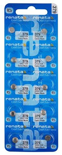 10 Renata Watch Batteries: 379 (Sr521Sw) by Renata