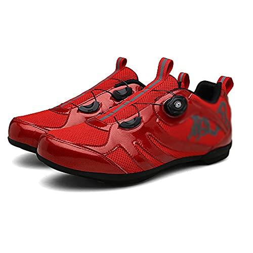 Zapatillas De Ciclismo Para Adultos,Zapatillas De Bicicleta De Montaña Transpirables,con Suela De Carbono 1 Par Transpirables Con Almohadilla Interior Suave Para Ciclismo ( Color : Red , Size : I )