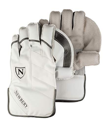 Newbery Cricket N-Series Wicket Keeping Handschuhe, Weiß/Carbon-Silber, Für Kinder