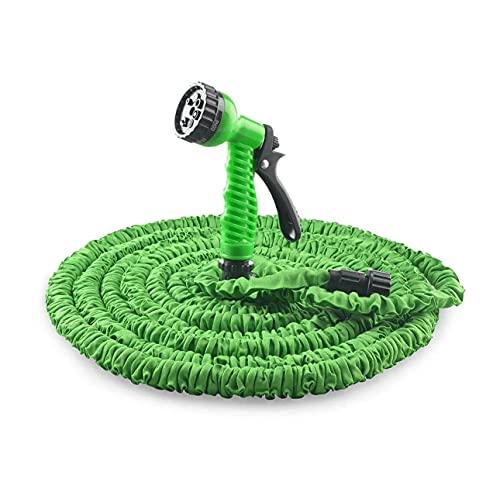Dispens - Manguera de jardín verde extensible con pistola de riego multiposiciones con 7 tipos de chorro