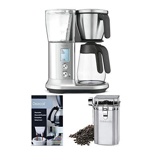 Breville BDC400 Precision Brewer Coffee Maker with Glass Carafe Plus Coffee Bean Canister and Descaler (3 Items)