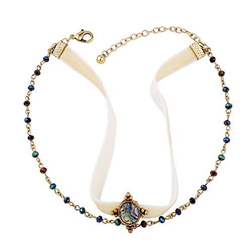 Chargances Damen-Choker, creme-weiß, Bohemian-Stil, mehrschichtige Kette, Edelstein-Anhänger, geschichtete Halsketten für Frauen, Choker-Schmuck für Frauen und Mädchen