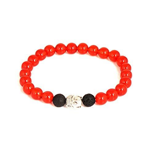 Orange Carnaline and Black Lava Bead Natural Beaded Gemstone 8mm Round 7 Inch Elastic Bracelet Fashion Jewelry For Her