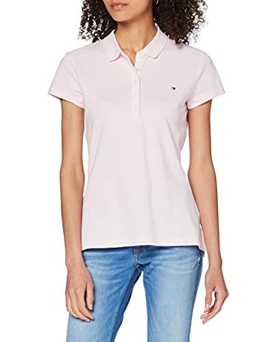 Tommy Hilfiger Heritage Short Sleeve Slim Polo, Rosa (Cradle Pink 888), Medium (Talla del Fabricante: MD) para Mujer