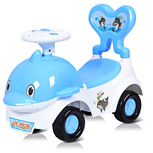 COSTWAY Baby 3-in-1 Ride-on Car Toy for Kids Toddlers, Cartoon Pushing Cart with Sound & Light, Safe Brake, Anti-falling Backrest, Storage Seat, Walker & Sliding Car for 18-36 Months (Blue)
