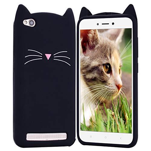HopMore Compatible con Funda para Xiaomi Redmi 5A Silicona Dibujo Gato 3D Divertidas Carcasa Kawaii Ultrafina Slim Case Antigolpes Caso Protección Cover Gracioso - Gatito Negro