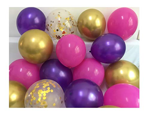 Latex Balloons Purple Fuchsia Gold - Chrome Gold Pink Confetti Balloons for Bachelorette Baby Shower Girl Birthday Graduation Anniversary Party Supplies 12inch 50packs (Fuchsia + Purple + Gold)