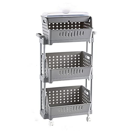 LTJX 3 Tier Rolling Cart, Carrito de la Utilidad con Cesta de Almacenamiento con Tapa, Sirviendo el Carro de Almacenamiento Easy Mesar para la Cocina de Office Cocina Aula