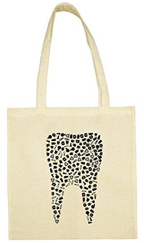 Textildruck Universum Baumwolltasche Zahn aus Symbolen Stoff Jütebeutel (Natur)