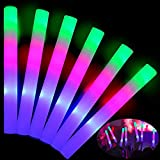 TURNMEON 32 Pcs Giant 16 Inch Foam Glow Sticks Party Supplies Favors, 3 Modes Color Changing Led Light Sticks Glow Batons Glow In The Dark Accessories for Birthday Wedding Halloween Party