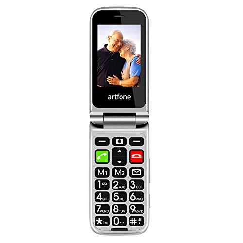 Telefono Cellulare per Anziani, Artfone CF241A con Tasti Grandi, Funzione MMS, SOS, Supporto SIM Doppio, Chiamata Rapida and Torcia -Nero