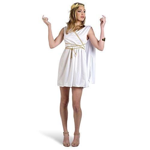 Disfraz sexy para mujer de diosa romana, vestido corto con lazo, cordón y tocado mini vestido – M