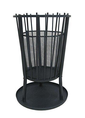 Feuerkorb Feuerstelle Kaminofen Terrassenofen aus Metall - schwarz beschichtet - Höhe 65 cm